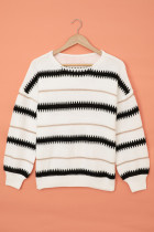 White Striped Loose Fit Pullover Sweater