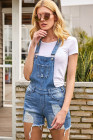 Raw Hem Ribbed Light Blue Denim Overall Shorts