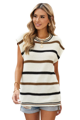 White Striped Short Sleeve Knit Top