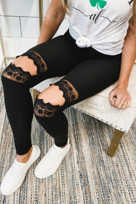Floral Hollow Out Black Skinny Leggings