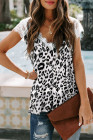White Eyelash V Neck Leopard Tank