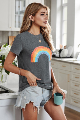 Gray Pot Of Gold Heathered Rainbow Tee