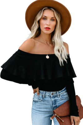 Black Ribbed Off The Shoulder Lace Top