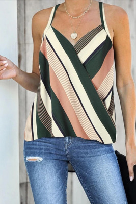 Apricot Wrap V Neck Striped Draped Tank