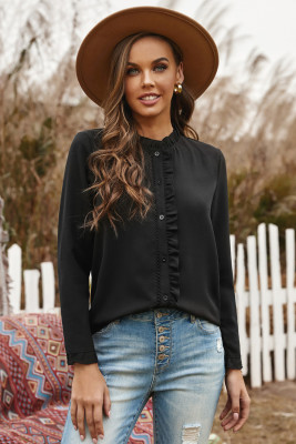 Black Frilled Neckline Buttoned French Shirt