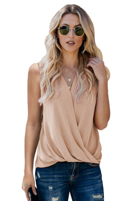 Khaki V Neck Draped Tank Top