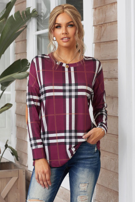 Plaid Pocketed Long Sleeve Top with Suede Elbow Patch