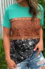 Green Marble Print Buckstitch Splicing Color Block T-shirt