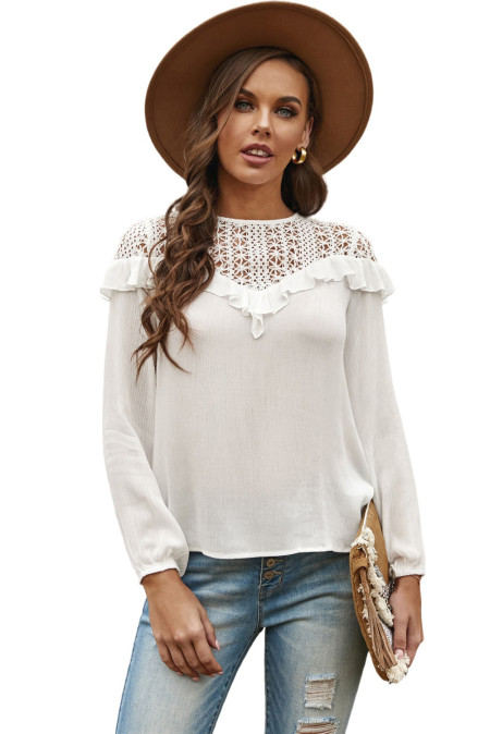White Hollow-out Ruffle Long Sleeve Blouse