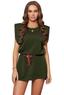 Green Padded Shoulder Sleeveless Cotton Pocketed Mini Dress