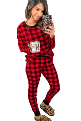 Red Plaid Two Pieces Loungewear