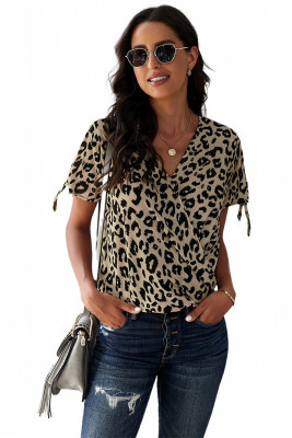 Leopard V Neck Twist Top
