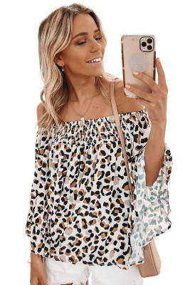 Leopard Off Shoulder Flared Sleeve Top