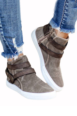 Khaki Hipster High-top Canvas Sneakers