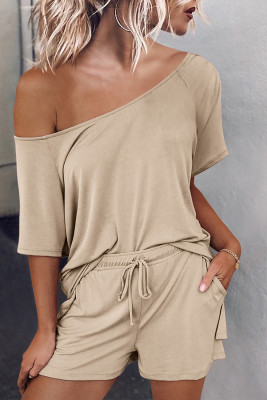 Beige Raglan Top and Shorts Knit Lounge Set