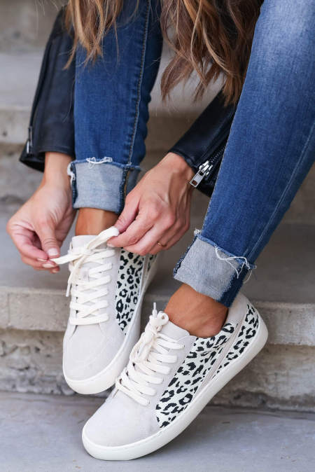 Gray Leopard Patchwork Casual Sneakers