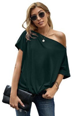 Green Off-The-Shoulder Slash Neck Casual Loose Fitting Top