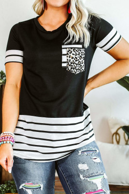 Black Striped Detail T-shirt with Patch Pocket