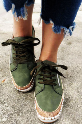 Green Ethnic print flat shoes