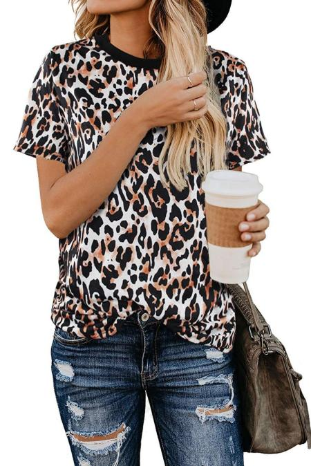 Short Sleeve Leopard Print Top