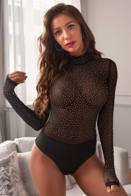 Black Mesh Silver Studded Mock Neck Bodysuit
