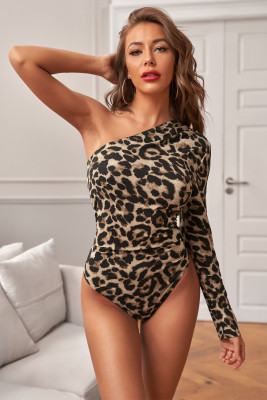 Leopard Print One-shoulder Bodysuit