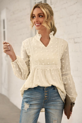 Apricot Ruffled Split Neck Lace Hollow Out Puff Sleeve Polka Dot Blouse