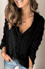 Black Long Sleeve Button Fuzzy Polka Dot Shirt