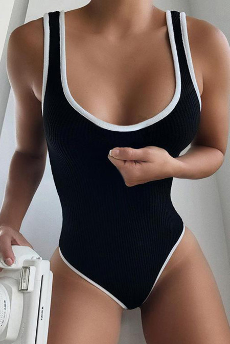 Black Colorblock Neckline Ribbed Bodysuit