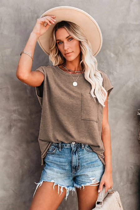 Brown Pocketed Tee with Side Slits