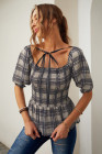 Gray Plaid Shirring Square Neck Puffed Short Sleeve Top with Tie Detail
