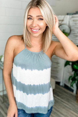 Crochet Trimmed Back Tie Dye Tank Top