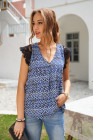 Blue Print Lace Shoulder Tank Top