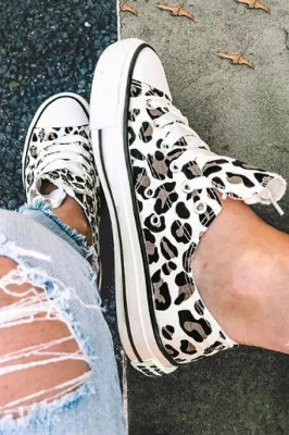White Leopard Print Lace up Canvas Shoes