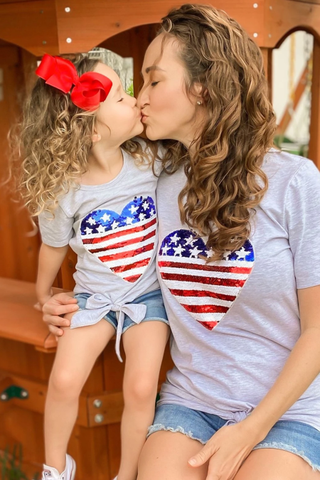 Mommy Patriotic Flag Sequin Heart Applique Knot Top