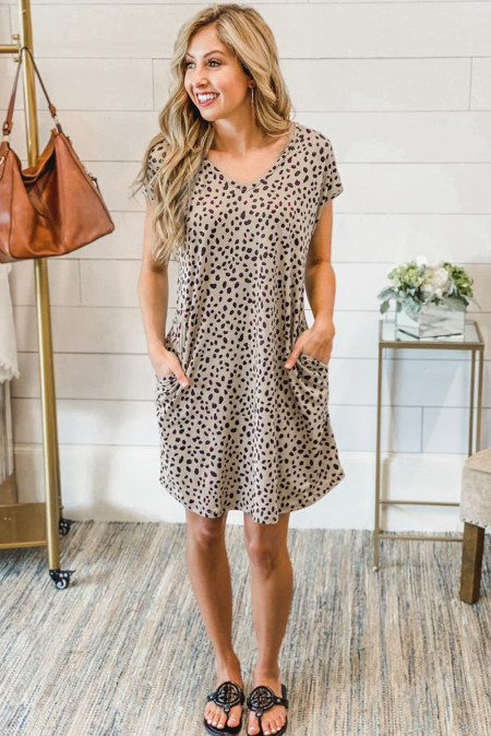 Khaki Cheetah Print Pocketed Mini Dress