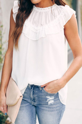 White Frilled Detail Tulle Tank Top