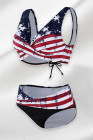 American Flag High Waist Back Tethered Bikini