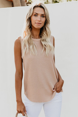Apricot Crew Neck Waffle Tank Top