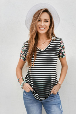 Floral Sleeves Striped T-shirt