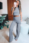 Cropped Tee and Wide Legs Pants Ribbed Knit Lounge Set