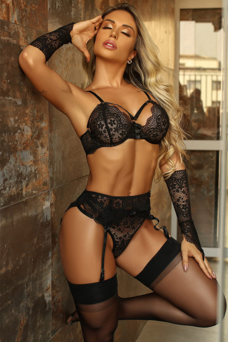 Black Lace Bralette Set with Garters and Gloves