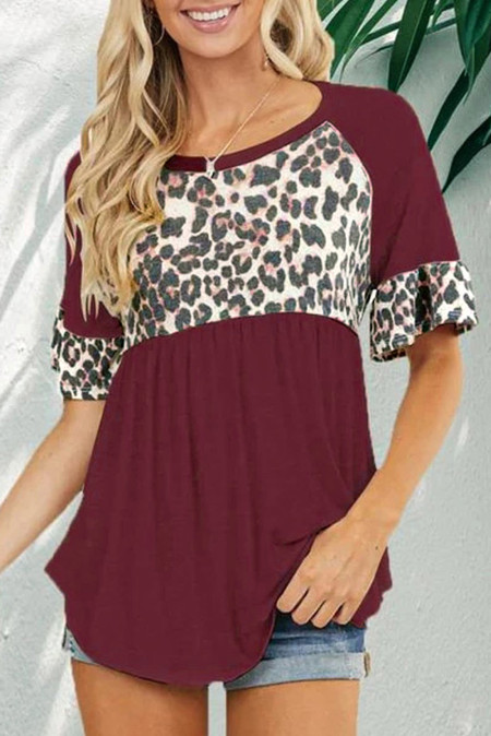 Wine Leopard Stitching Pleated Casual Top