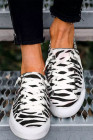 Zebra Lace Up Flat Canvas Sneakers