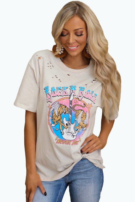 Rock N Roll Never Die Graphic Distressed Tee