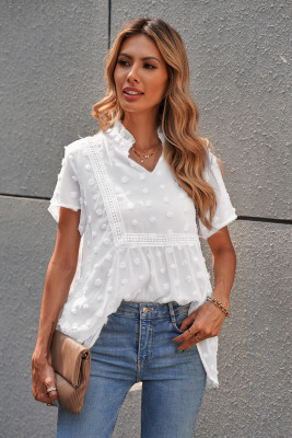 White Swiss Dot Short Sleeve Flowy Top