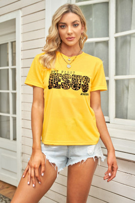 Leopard Letters Print Graphic Yellow T-shirt