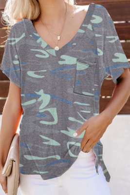 V Neck Front Pocket Camo Tee