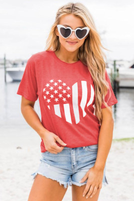 American Flag Heart Print Graphic Tee