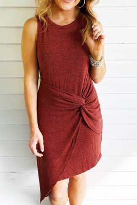 Wine Red Crew Neck Sleeveless Side Knot Irregular Hem Knitted Mini Dress